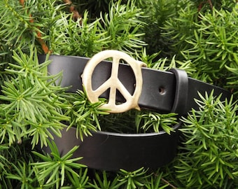 Handmade Black Leather Belt with Brass Peace Sign Buckle