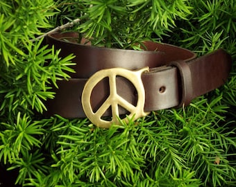 Handmade Dark Brown Leather Belt with Brass Peace Sign Buckle