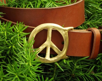 Handmade Whiskey Leather Belt with Brass Peace Sign Buckle