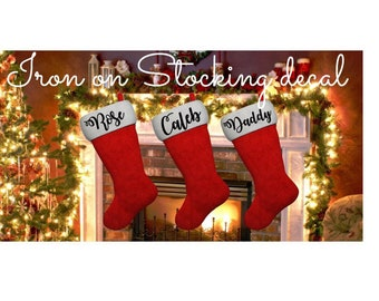 Personalized Christmas Stocking DIY Iron-on Name Decal Transfer , Comes in custom Sizes , Christmas Iron on Transfer Ready to ship in 1 Day