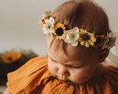 Sunflower crown Flower girl crown Sunflower headband Fall Spring Flower Crown Baby flower crown Flower girl headband Bridal flower Crown