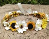 Sunflower crown Sunflower headband Flower girl crown Fall Autumn flower crown Baby flower crown Flower girl headband Bridal flower Crown