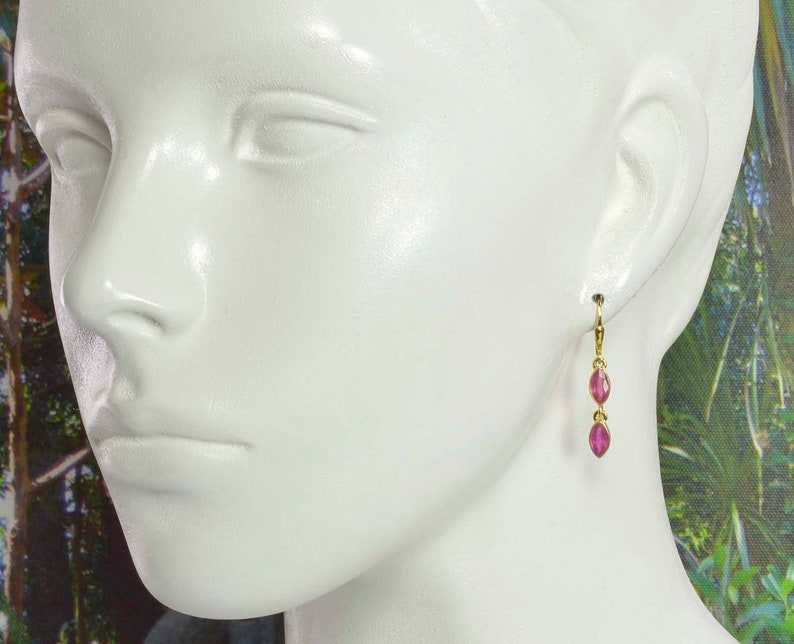 Ruby earrings sterling silver gold plated