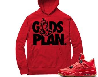 3431e92df63 Jordan 4 Fire Red Hoodie   Drake Gods Plan - Retro 4 Fire Red / Red Hooded  tee shirts