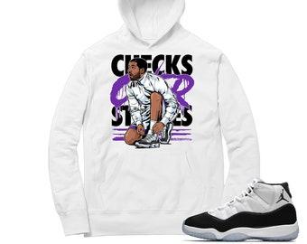 Air Jordan 11 Concord Hoodie Drake Checks Over Stripes Etsy
