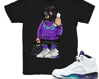 big sale 2495d 5edfa Air Jordan 5 Grape shirt   Trap Bear - Retro 5 Fresh Prince Grape Black tee  shirts