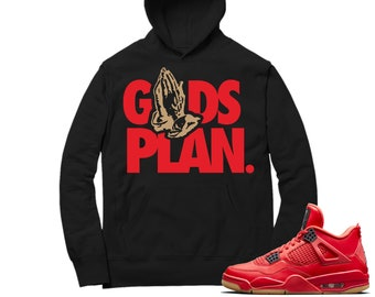f32893d1733 Jordan 4 Fire Red Hoodie   Drake Gods Plan - Retro 4 Fire Red / black  Hooded tee shirts