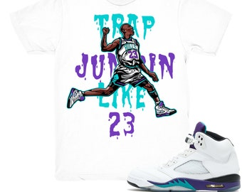 separation shoes 77b18 6f3e2 Air Jordan 5 Grape shirt   Trap Jumpin  - Retro 5 Fresh Prince Grape tee  shirts