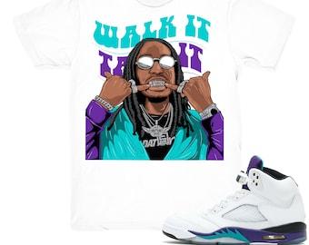 new styles 3561a e3011 Air Jordan 5 Grape shirt   Quavo Walk It - Retro 5 Fresh Prince Grape tee  shirts