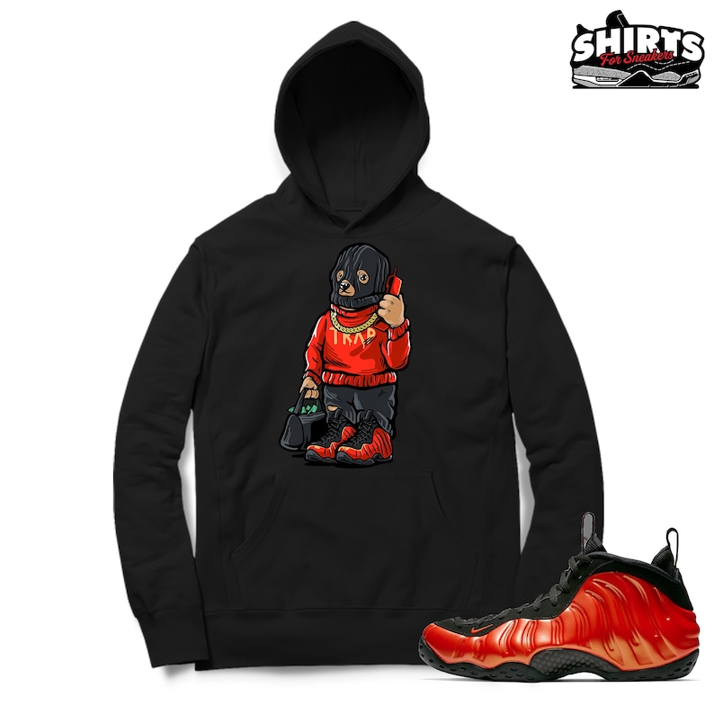 cf337ee6c2511 Foamposite One Habanero Red Hoodie Trap Bear Habanero Red