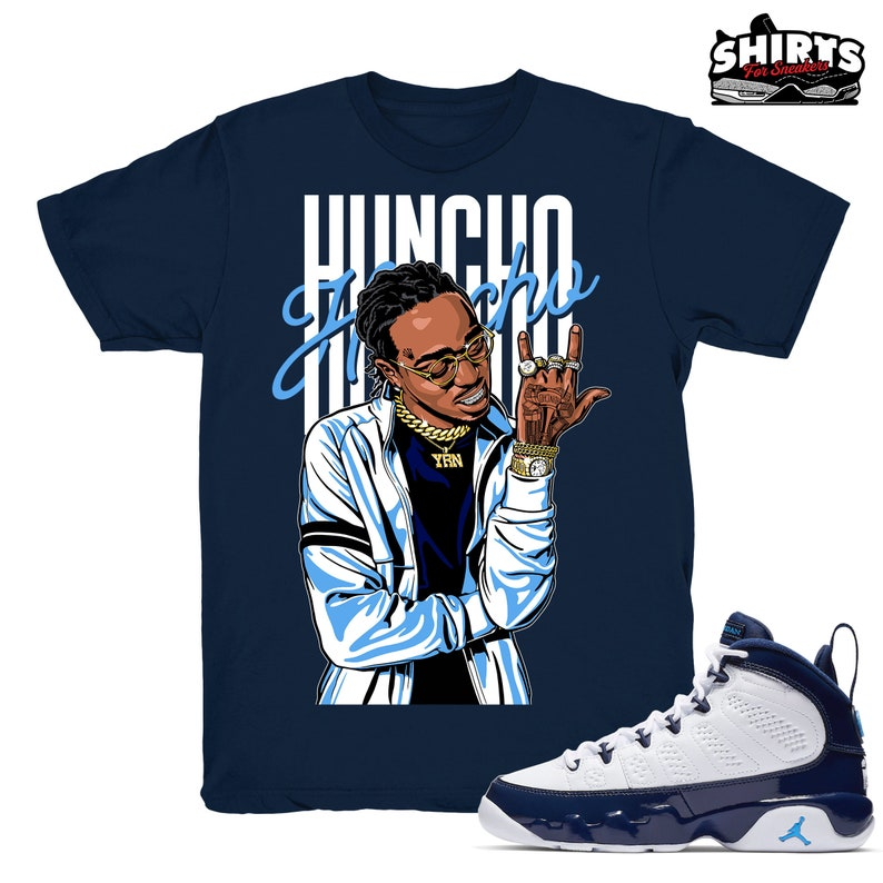 cd12ecd185f Air Jordan 9 UNC shirt Huncho Retro 9 UNC 2019 / Navy tee | Etsy