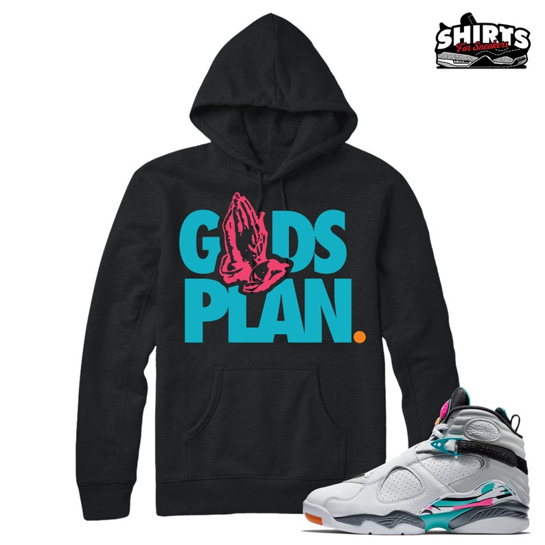92f2a796891 Air Jordan 8 South Beach Hoodie shirt Drake Gods Plan | Etsy