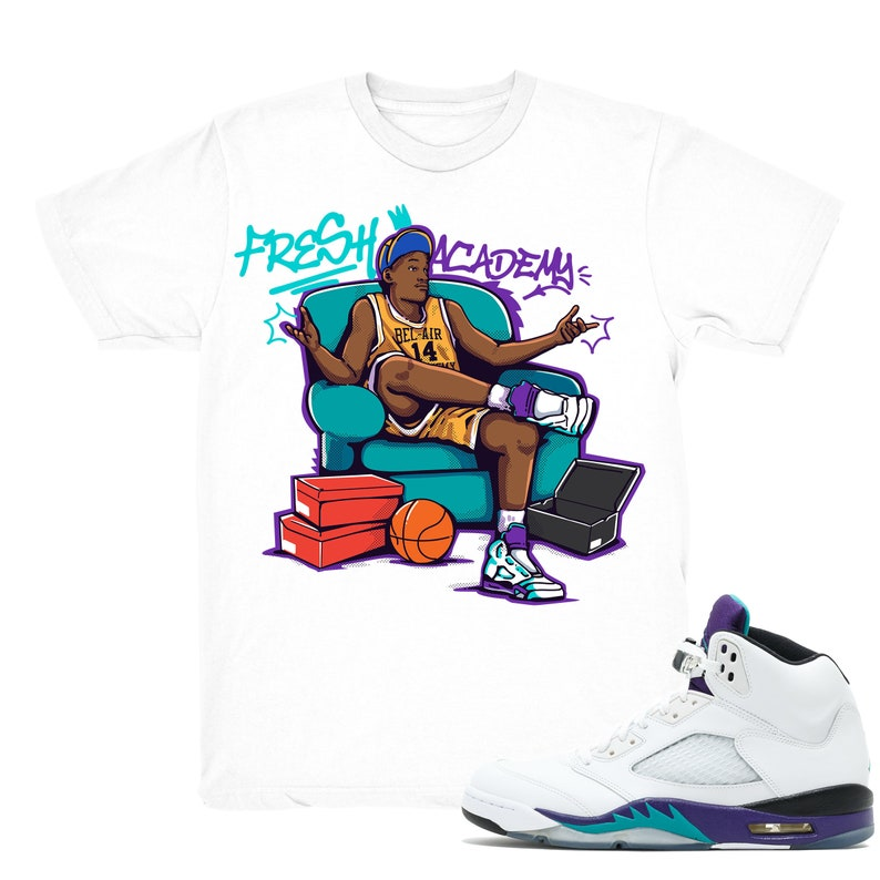 b8815300884 Air Jordan 5 Grape shirt Fresh Academy Retro 5 Fresh | Etsy