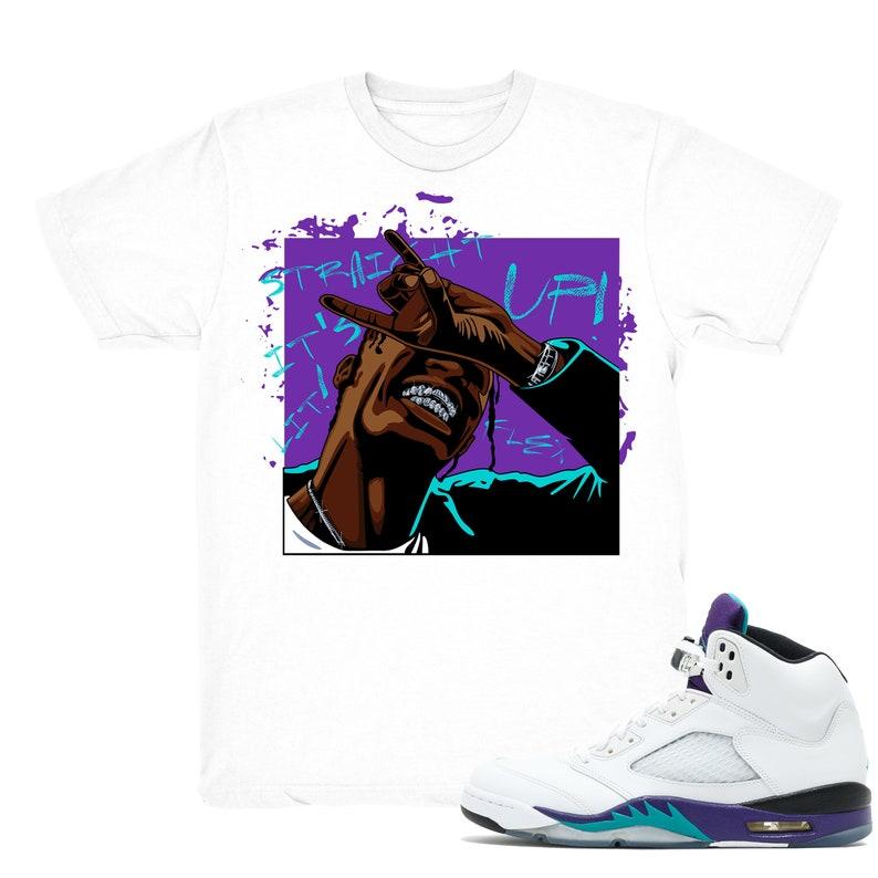 quality design 0fca1 522b1 Air Jordan 5 Grape shirt | Straight Up - Retro 5 Fresh Prince Grape White  tee shirts