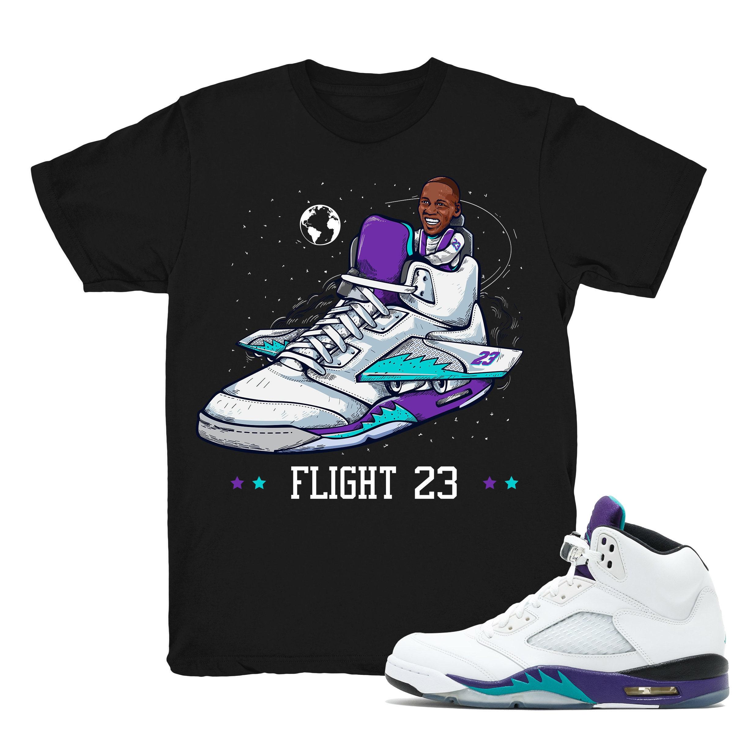 official photos 96ce4 3b2cd Air Jordan 5 Grape shirt | Flight 23 - Retro 5 Fresh Prince Grape Black tee  shirts