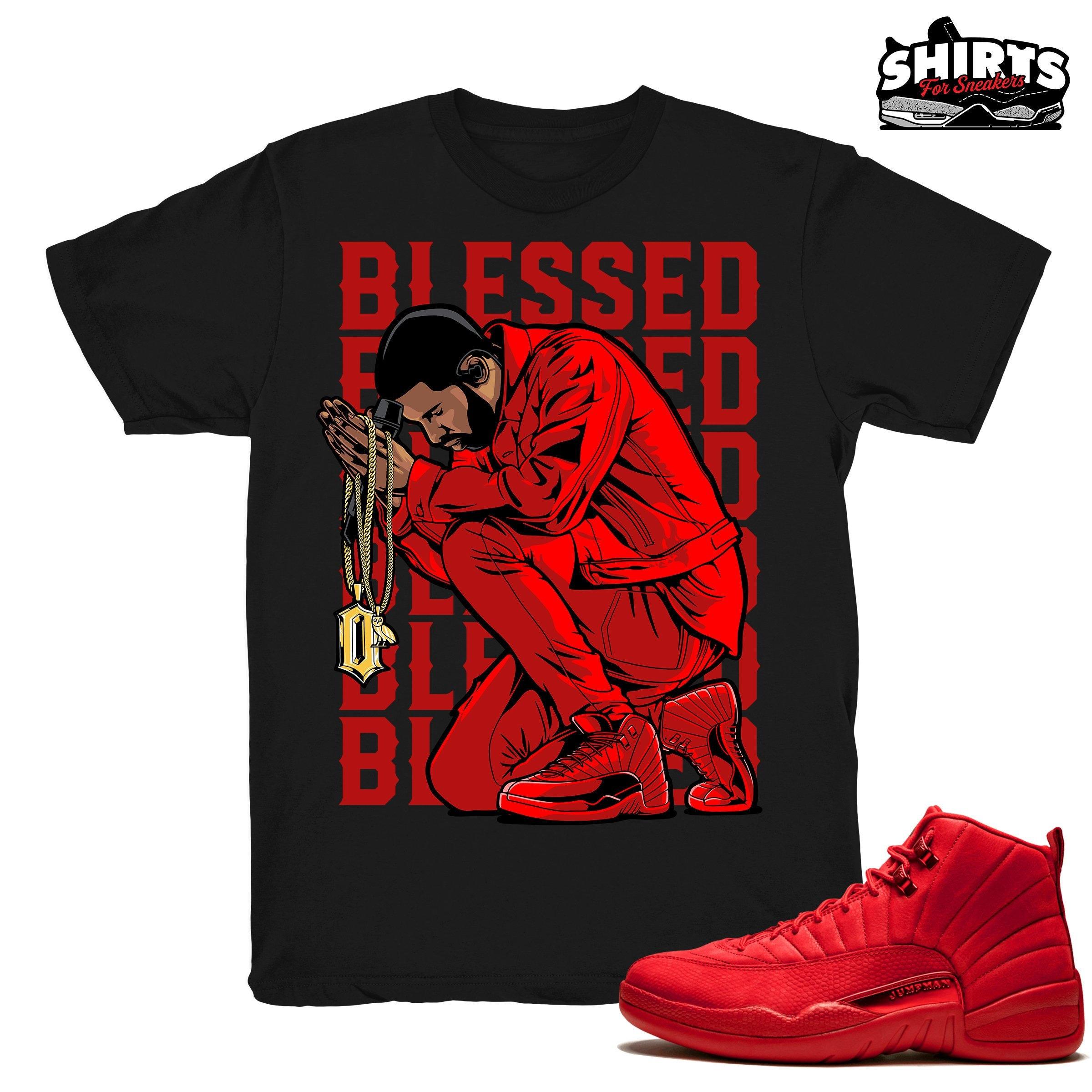 buy online d653d 463b9 Air Jordan 12 Gym Red shirt | Drake Blessed - Retro 12 Gym Red 2018 / Black  tee shirts