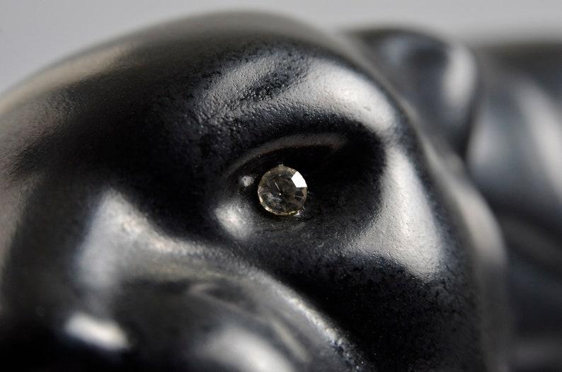Rare Vintage Black Panther Ceramic FigureSculptureStatuette