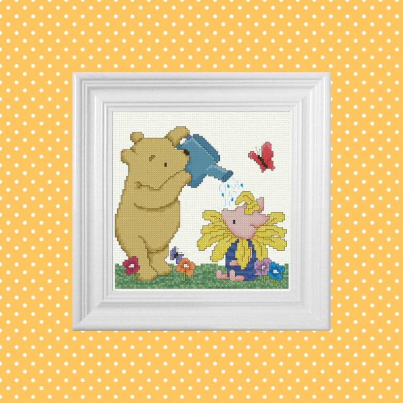 Friendship Grows  Classic Winnie the Pooh Cross Stitch image 0