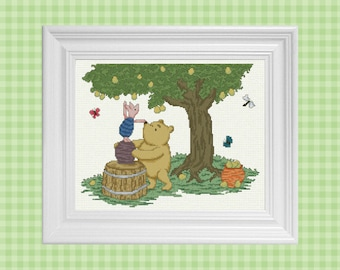 A Helping Hand ~ Classic Winnie the Pooh Cross Stitch Pattern ~ Instant PDF Download