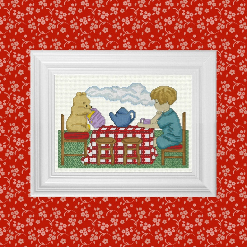 Afternoon Tea  Classic Winnie the Pooh Cross Stitch Pattern  image 0