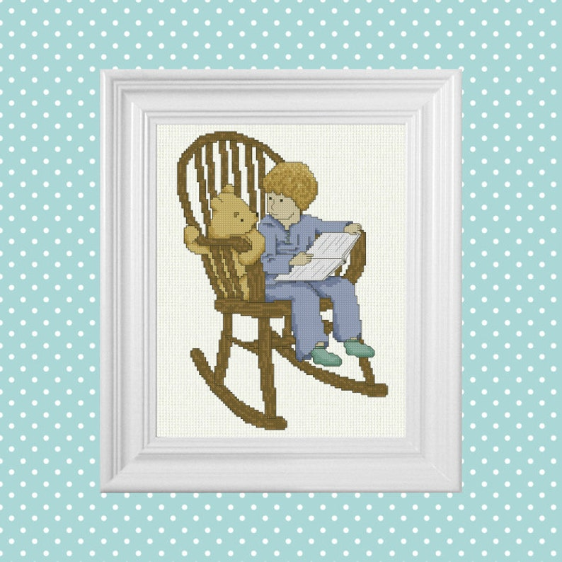 Bedtime Story  Classic Winnie the Pooh Cross Stitch Pattern  image 0