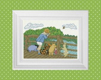 Poohsticks Bridge ~ Classic Winnie the Pooh Cross Stitch Pattern ~ Instant PDF Download