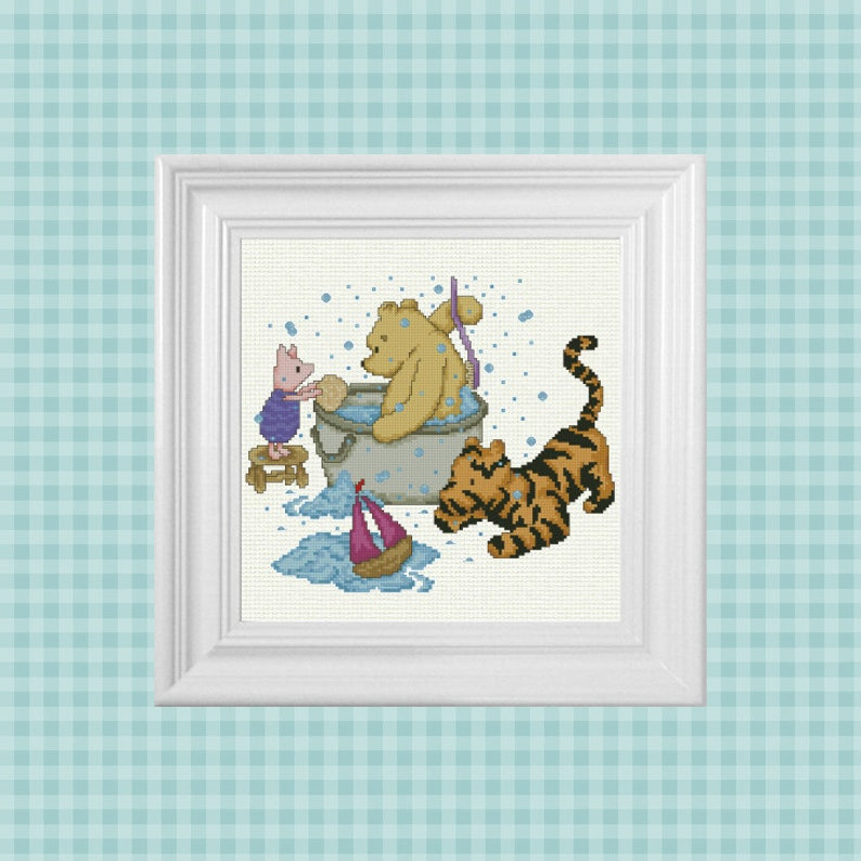 Trouble With Bubbles  Classic Winnie the Pooh Cross Stitch image 0