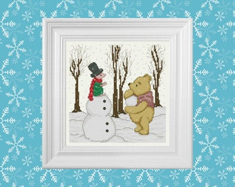 Snow Day ~ Classic Winnie the Pooh Cross Stitch Pattern ~ Instant PDF Download