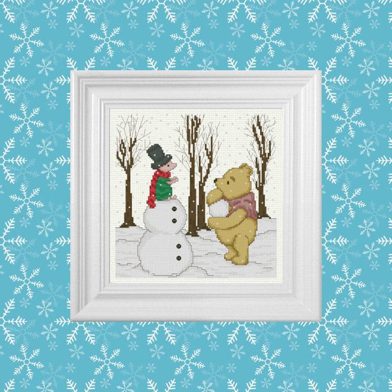 Snow Day  Classic Winnie the Pooh Cross Stitch Pattern  image 0