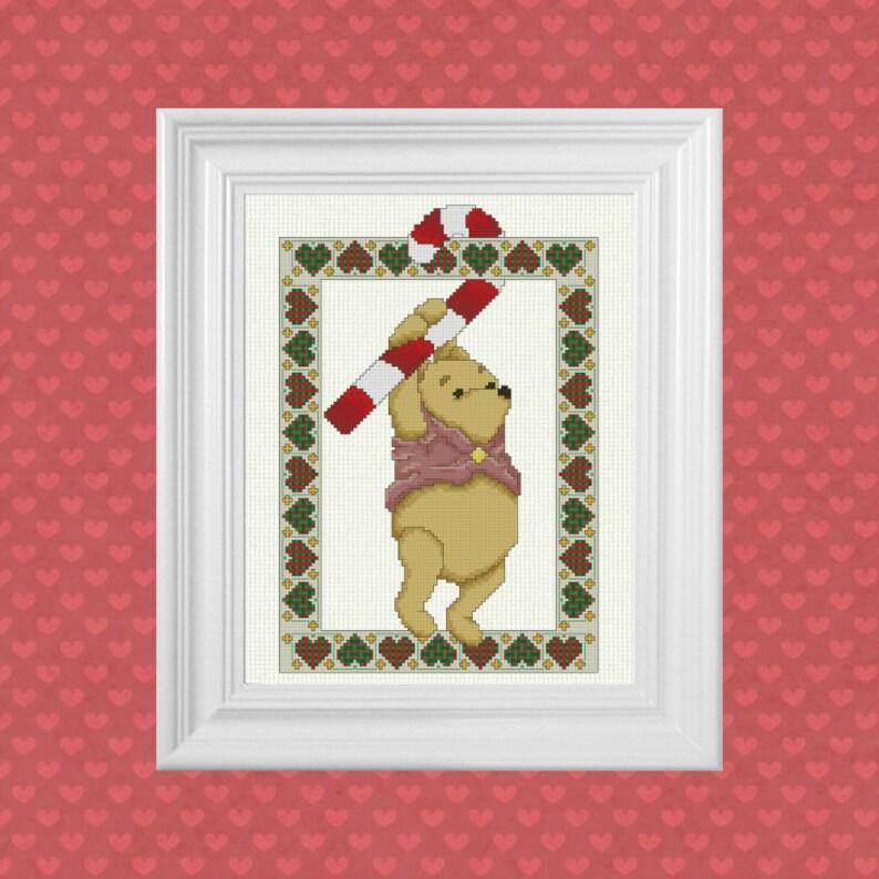 Candy Cane Pooh  Classic Winnie the Pooh Cross Stitch Pattern image 0