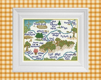 100 Akre Wood in Autumn ~ Classic Winnie the Pooh Cross Stitch Pattern ~ Instant PDF Download