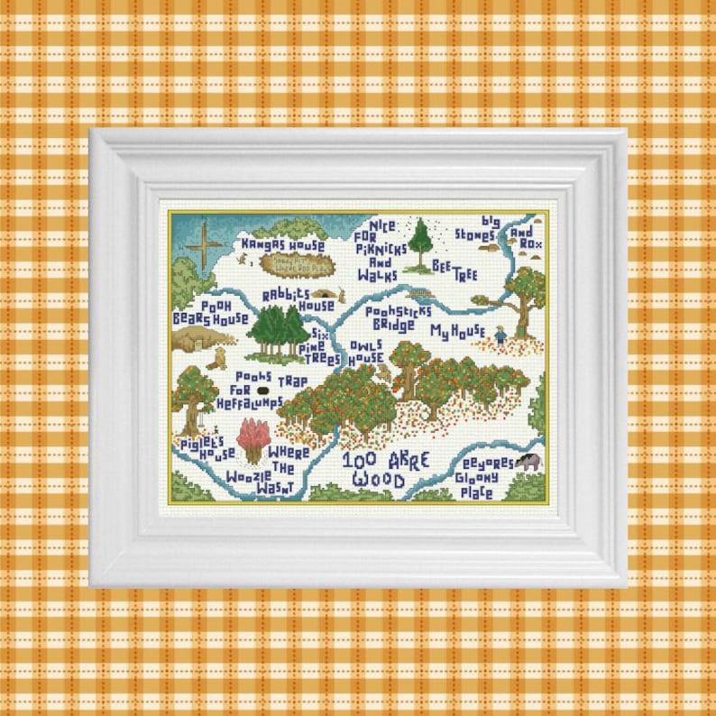 100 Akre Wood in Autumn  Classic Winnie the Pooh Cross Stitch image 0