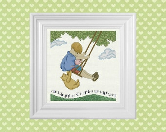 Touched The Sky ~ Classic Winnie the Pooh Cross Stitch Pattern ~ Instant PDF Download