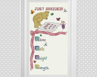 Just Arrived Birth Announcement (Pink, Blue and Yellow) ~ Classic Winnie the Pooh Cross Stitch Pattern ~ Instant PDF Download