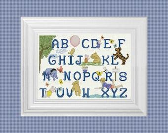 Alphabet Sampler~ Classic Winnie the Pooh Cross Stitch Pattern ~ Instant PDF Download