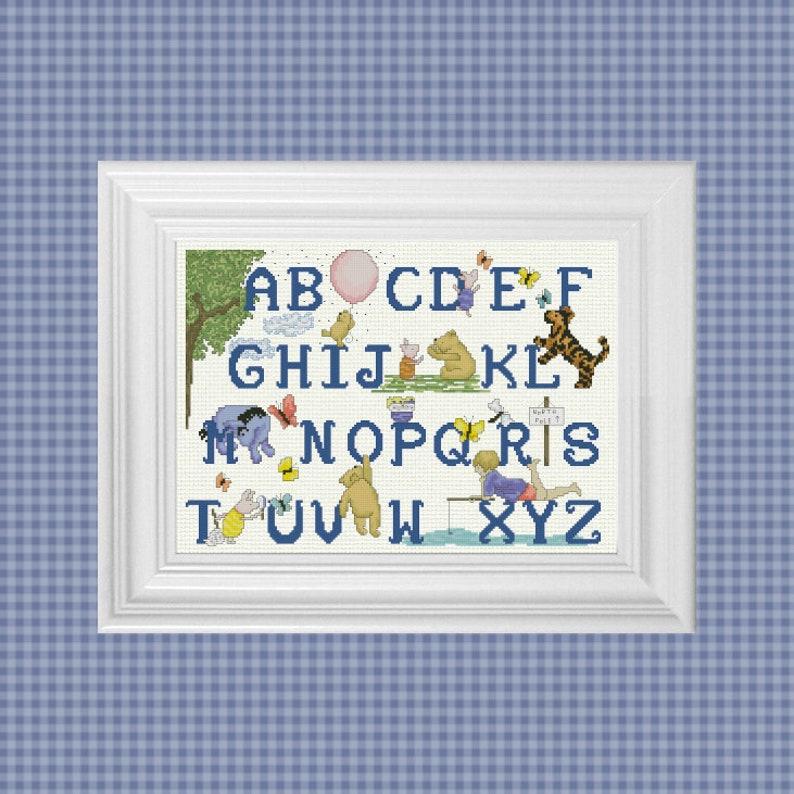 Alphabet Sampler Classic Winnie the Pooh Cross Stitch Pattern image 0
