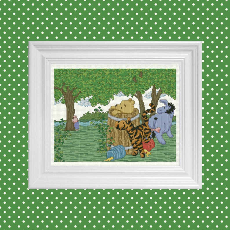 Hide and Seek  Classic Winnie the Pooh Cross Stitch Pattern  image 0