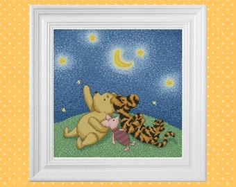 Stargazing ~ Classic Winnie the Pooh Cross Stitch Pattern ~ Instant PDF Download