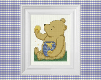 The Hunny Pot ~ Classic Winnie the Pooh Cross Stitch Pattern ~ Instant PDF Download