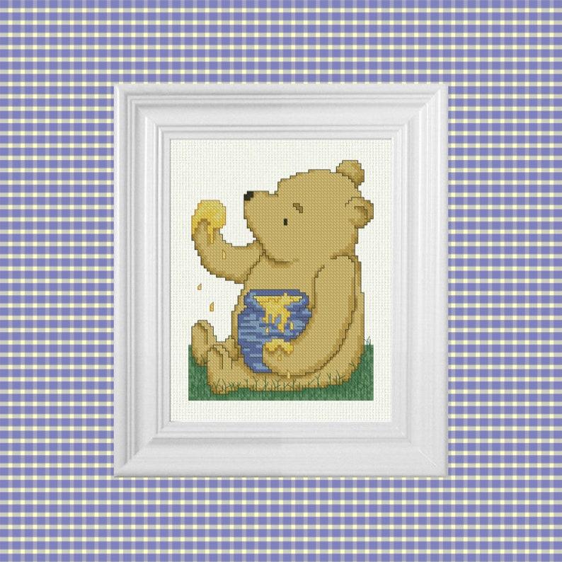 The Hunny Pot  Classic Winnie the Pooh Cross Stitch Pattern  image 0