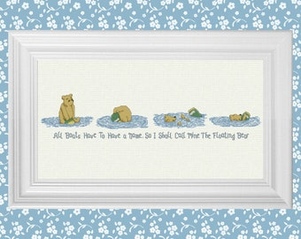 The Floating Bear ~ Classic Winnie the Pooh Cross Stitch Pattern ~ Instant PDF Download