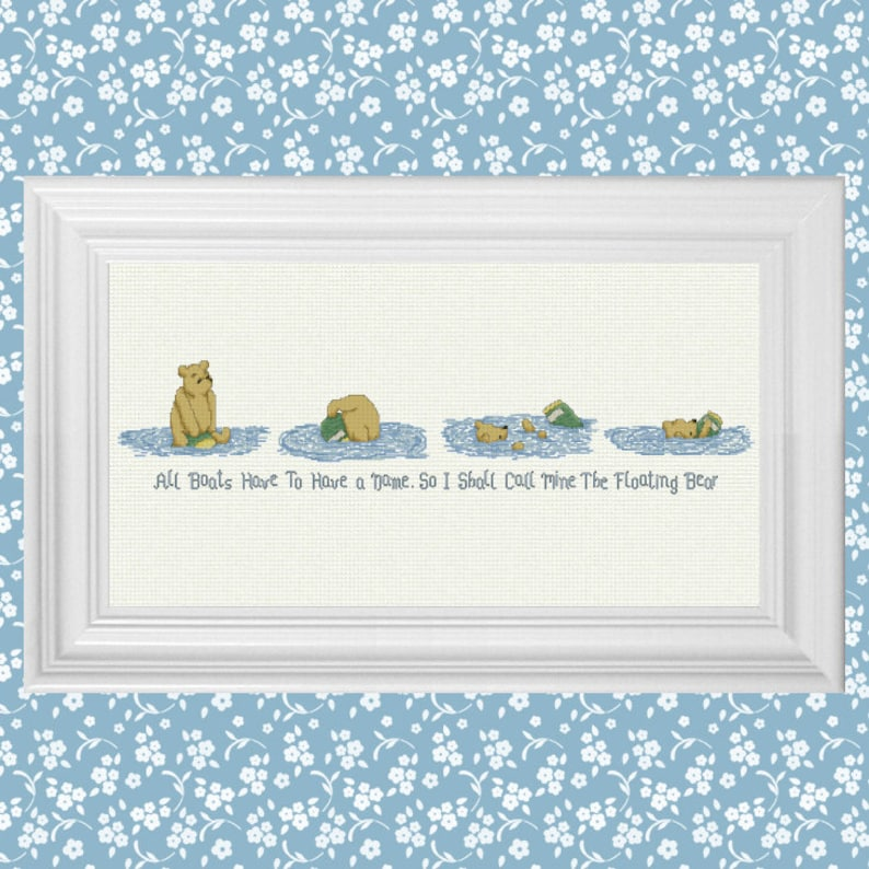 The Floating Bear  Classic Winnie the Pooh Cross Stitch image 0