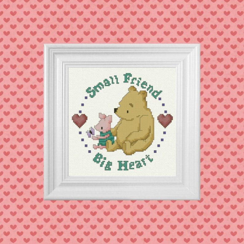 Small Friend Big Heart  Classic Winnie the Pooh Cross Stitch image 0