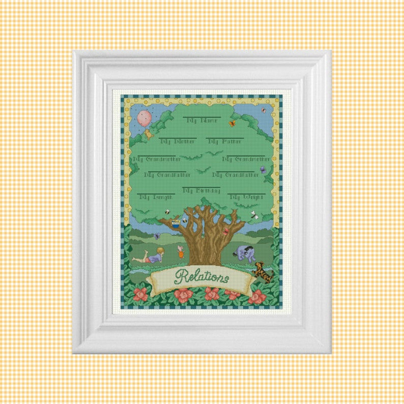 My Family Tree  Classic Winnie the Pooh Cross Stitch Pattern image 0