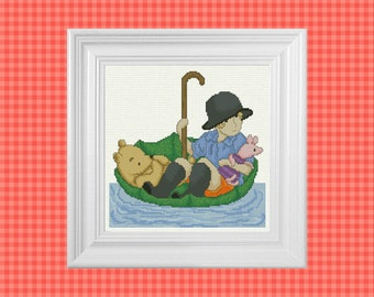 Down The River ~ Classic Winnie the Pooh Cross Stitch Pattern ~ Instant PDF Download