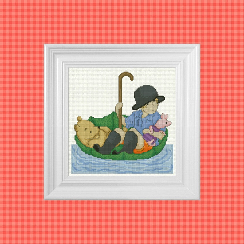 Down The River  Classic Winnie the Pooh Cross Stitch Pattern image 0