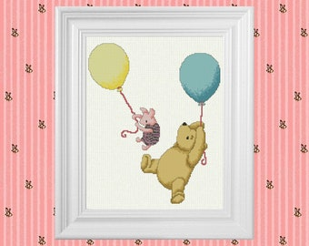 Up, Up and Away ~ Classic Winnie the Pooh Cross Stitch Pattern ~ Instant PDF Download