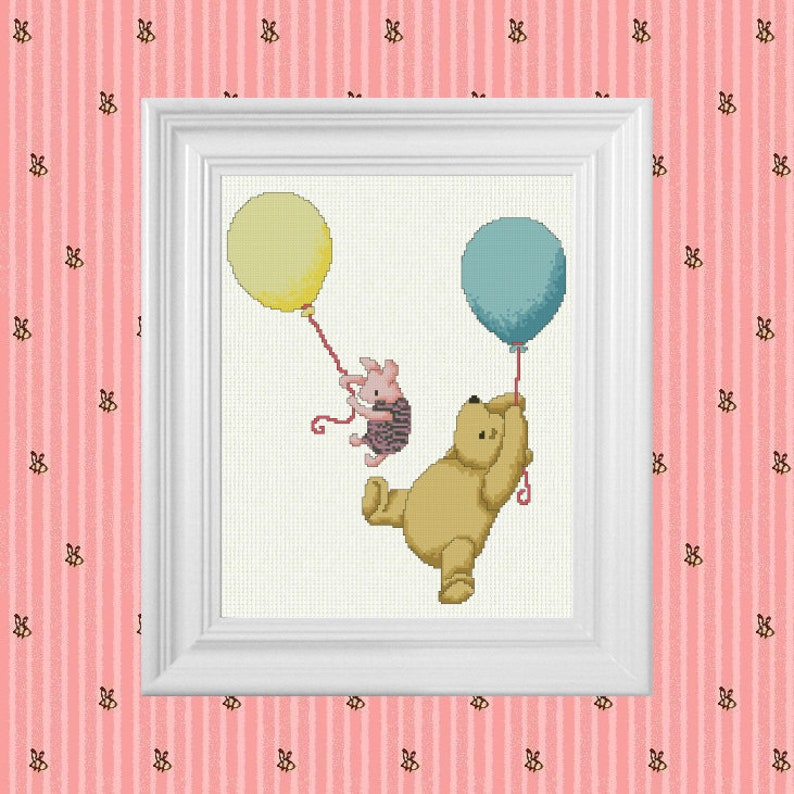 Up Up and Away  Classic Winnie the Pooh Cross Stitch Pattern image 0