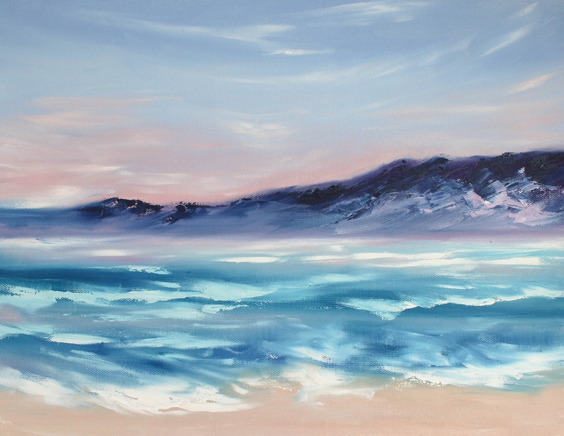 Beach Painting Ocean Original Art Abstract Seascape Painting on Canvas Coastal Wall Art 14 by 18 by GerDaPainting