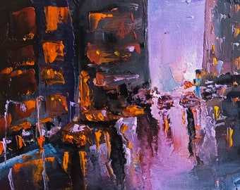 """New York Painting on Canvas Urban Landscape Impasto Original Art Abstract Cityscape Wall Art 7 by 9"""" by GerDaPainting"""